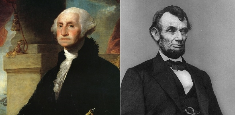 George Washington (left), Abraham Lincoln (right)