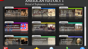 "Screen Capture from American History I, filter view ""chapters"""