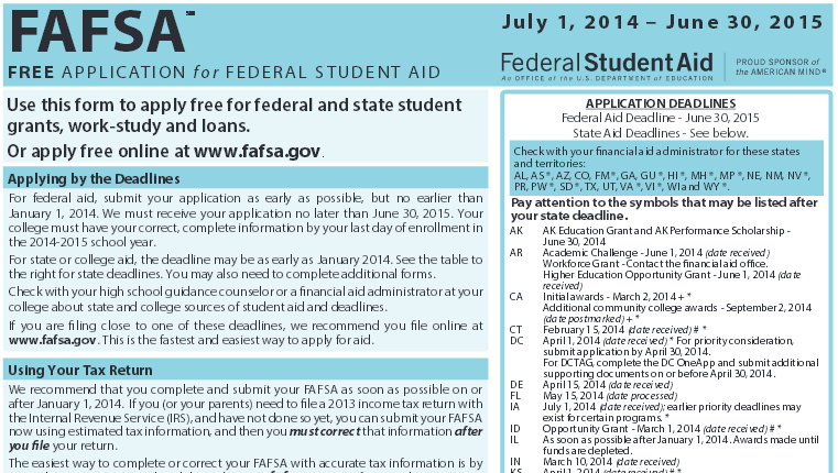 image capture of print version of FAFSA form