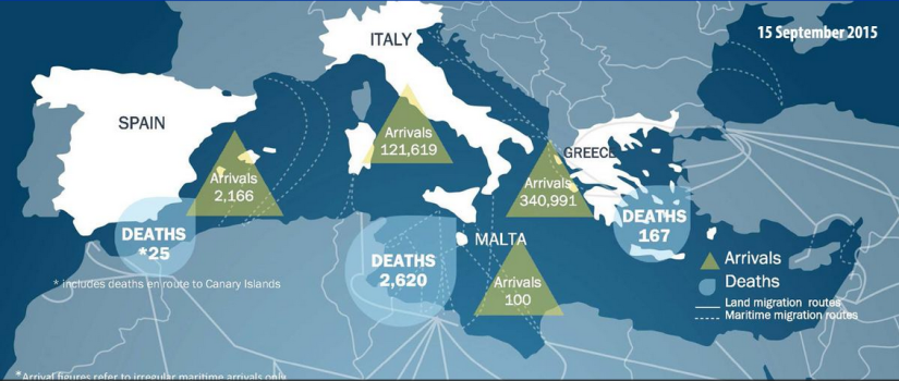 map showing numbers of migrant arrivals and deaths