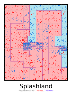 Image with red and blue randomly placed dots separated by lines.