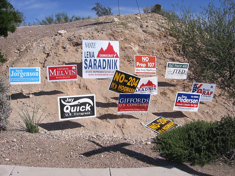 photo of campaign signs in desert scape next to sidewalk
