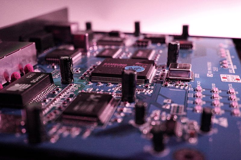 blue-tinted image of computer circuitry