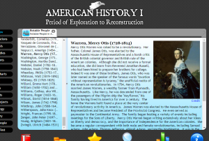 Mercy Otis Warren's biography as it now appears in American History I.