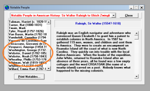 Image shows biography listings, with a circle around where Warren's name would be.