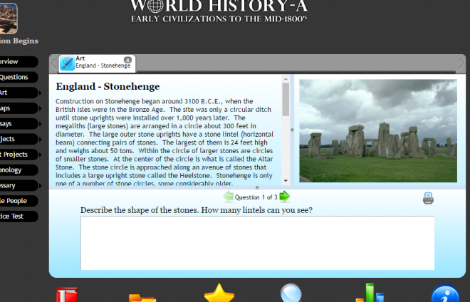 Screen capture of Art image, introduction, and questions from WorldView Software's World History A.