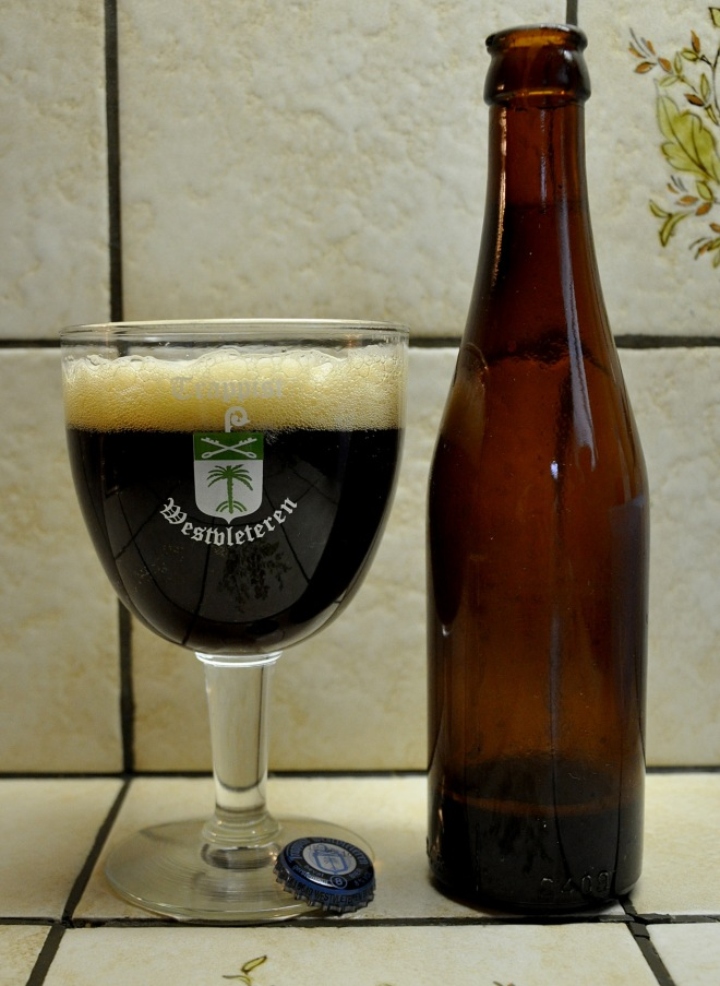 Beer bottle and full glass with Westvleteren logo