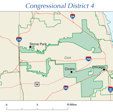 map showing two discontiguous areas making up one district